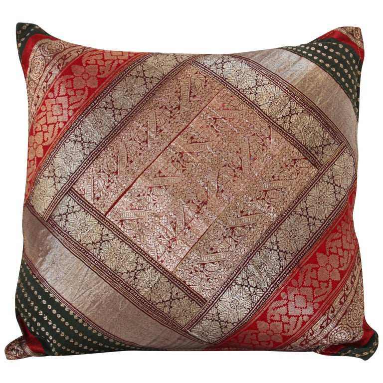 Decorative Vintage Throw Pillow Made from Sari Borders, India For Sale