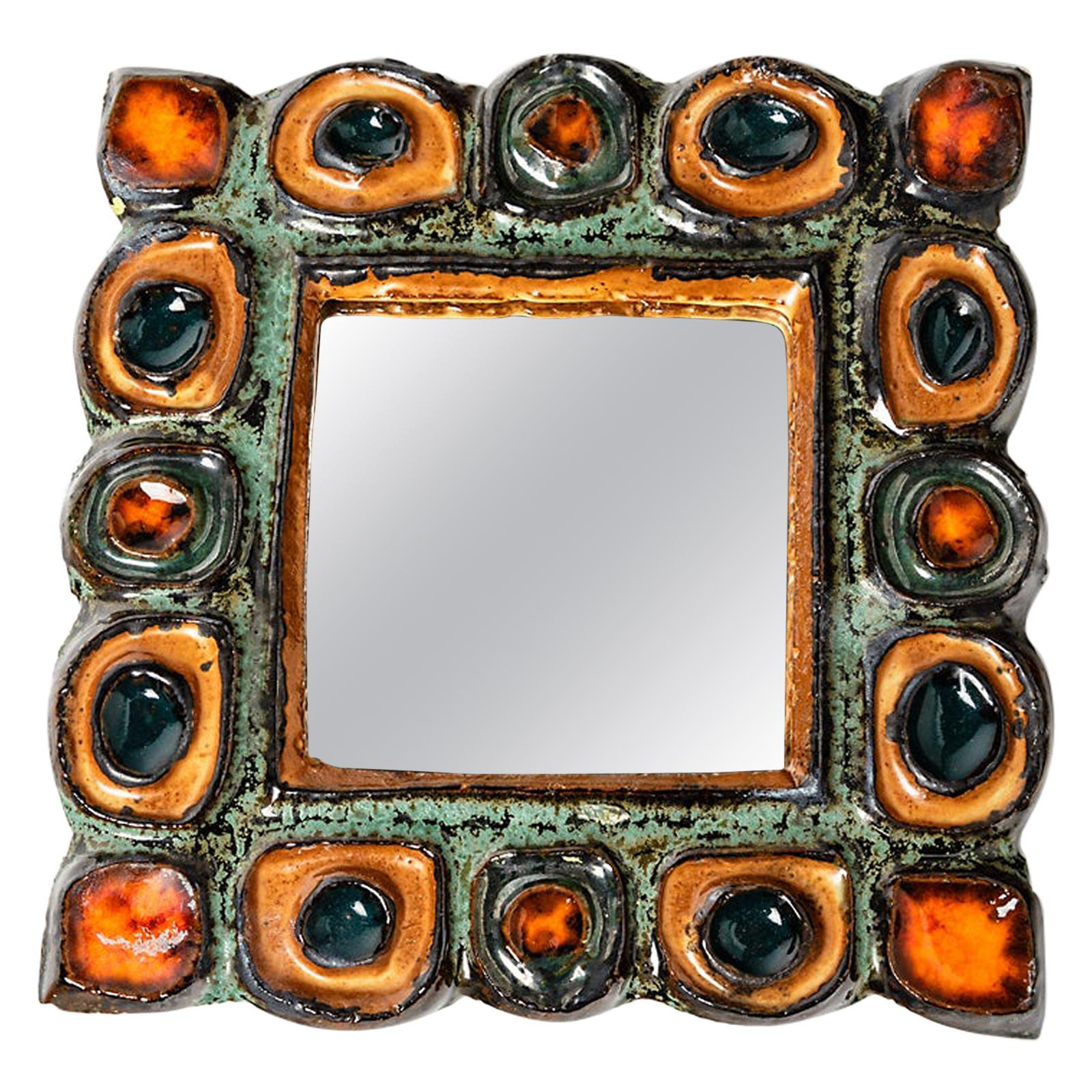 Decorative Wall Ceramic Mirror by Les Argonautes 1960 Orange and Green Colors