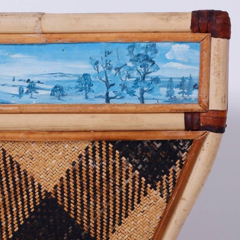 British Colonial Decorative Waste Basket For Sale