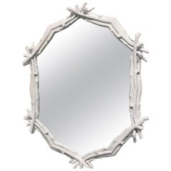 Decorative White Twig Mirror
