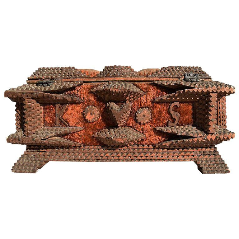 Decorative Wood Carved Tramp Art Keepsake Box or Sailors Valentine with Heart