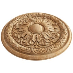 Decorative Wood Rosette Door Trim, Unfinished Carved Wood Medallion