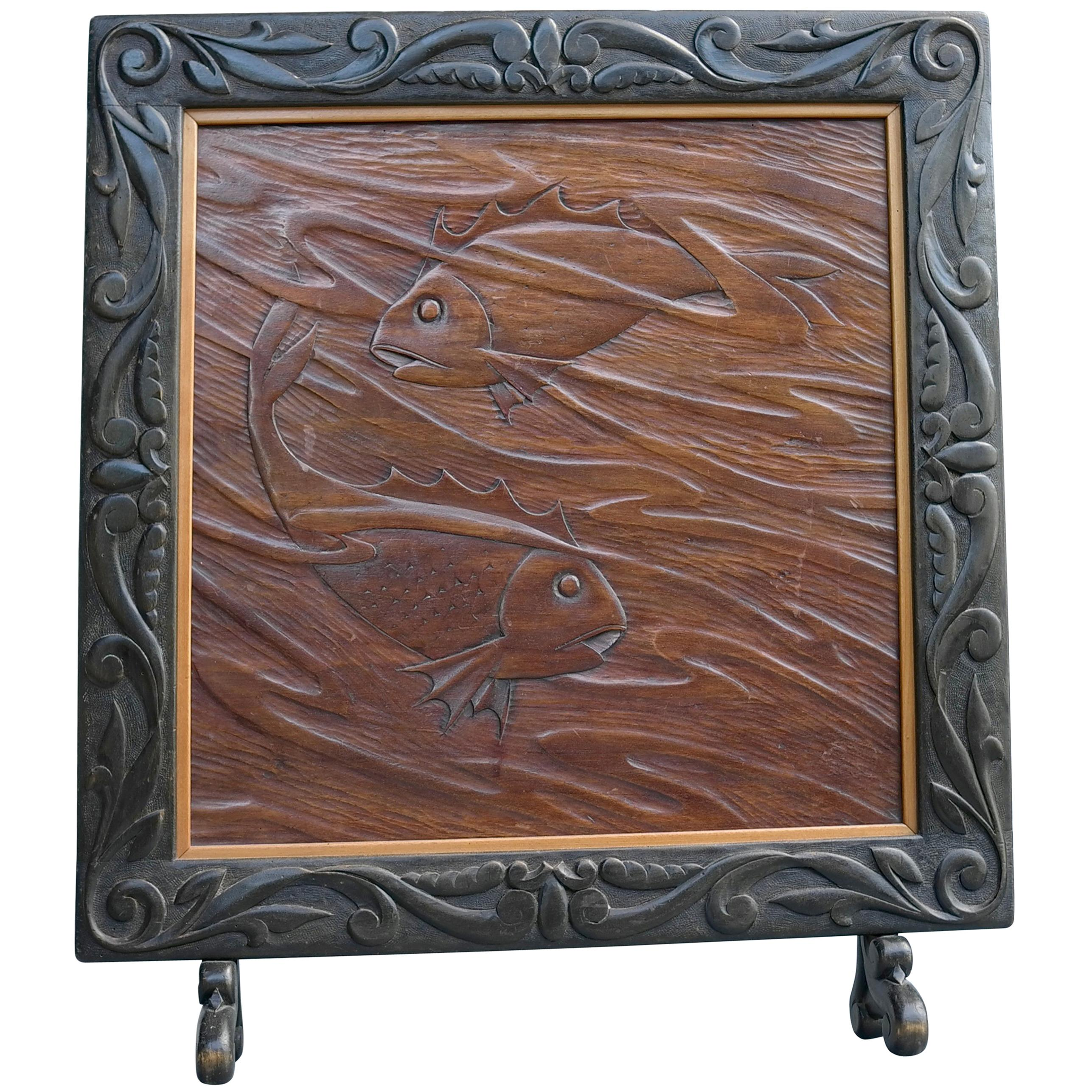 Decorative Wooden Screen with Carved Koi Carp Fish, 1940s