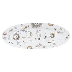 Decorative Zodiac Oval Plate Astronomici Black White Gold