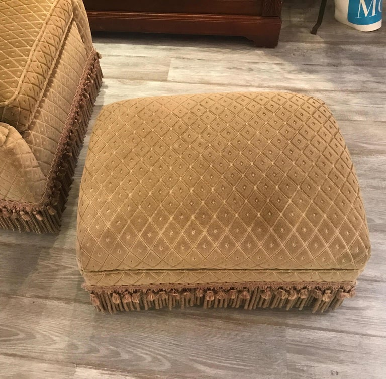 Art Deco Club Chair and Ottoman by Swaim For Sale 10