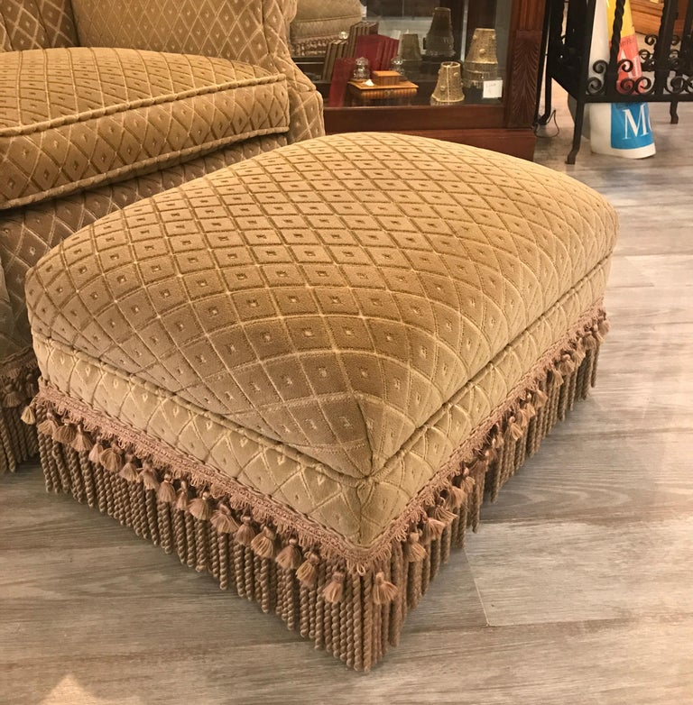 Art Deco Club Chair and Ottoman by Swaim In Good Condition For Sale In Lambertville, NJ