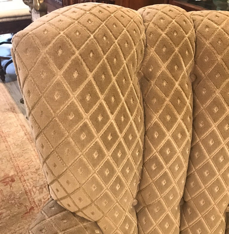 Fabric Art Deco Club Chair and Ottoman by Swaim For Sale