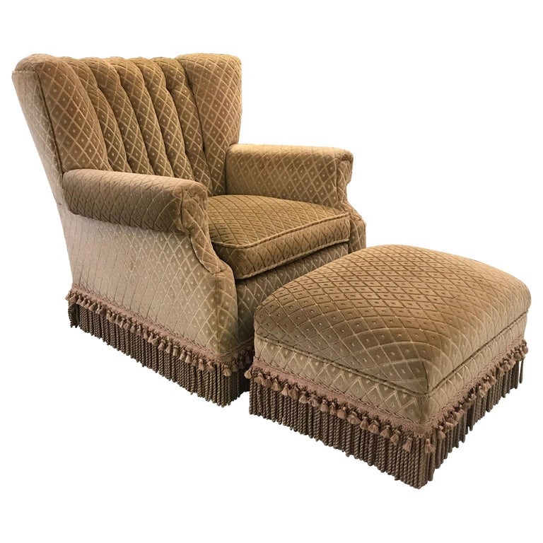 Art Deco Club Chair and Ottoman by Swaim For Sale