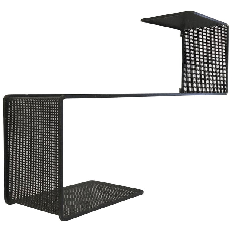 Dedal Wall Shelf by Mathieu Mategot, Perforated Steel, France, circa 1955 For Sale