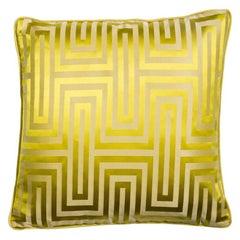 Dedalus Absinthe Yellow Geometric Silk Cushion Pillow