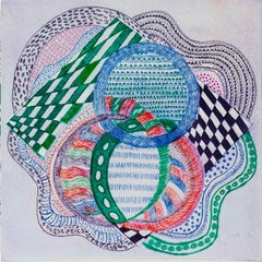 """On The Way Home"", abstract pattern etching print, red, blue, green, violet."