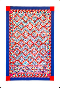 Quilt or Persian Rug Serigraph Pattern and Decoration Feminist Lithograph Print