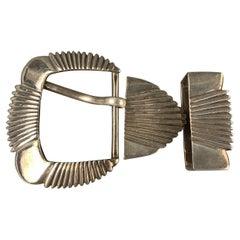 DEE SMITHS Size One Size Silver Metal Western 3 Piece Belt Buckle