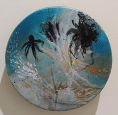 """Aqua"" original mixed media on round panel, gold leaf, flora, by Deedra Ludwig"