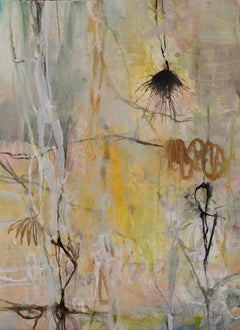 """Dormant Season"" original acrylic, oil & ink on paper, flora, unframed, abstract"