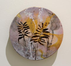 """Gold"" original mixed media on round panel, gold leaf, flora, by Deedra Ludwig"