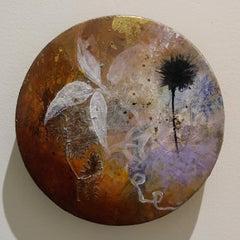 """Jewel"" original mixed media on round panel, gold leaf, flora, by Deedra Ludwig"