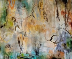 """Lost River"" original mixed media on canvas, flora, by Deedra Ludwig"