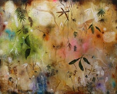 """New Gold Dream"" original mixed media on canvas, gold, flora, by Deedra Ludwig"