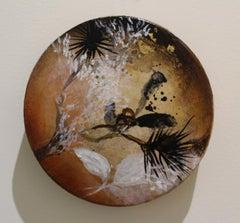 """Wood & Leaf"" original mixed media on round panel, flora, by Deedra Ludwig"