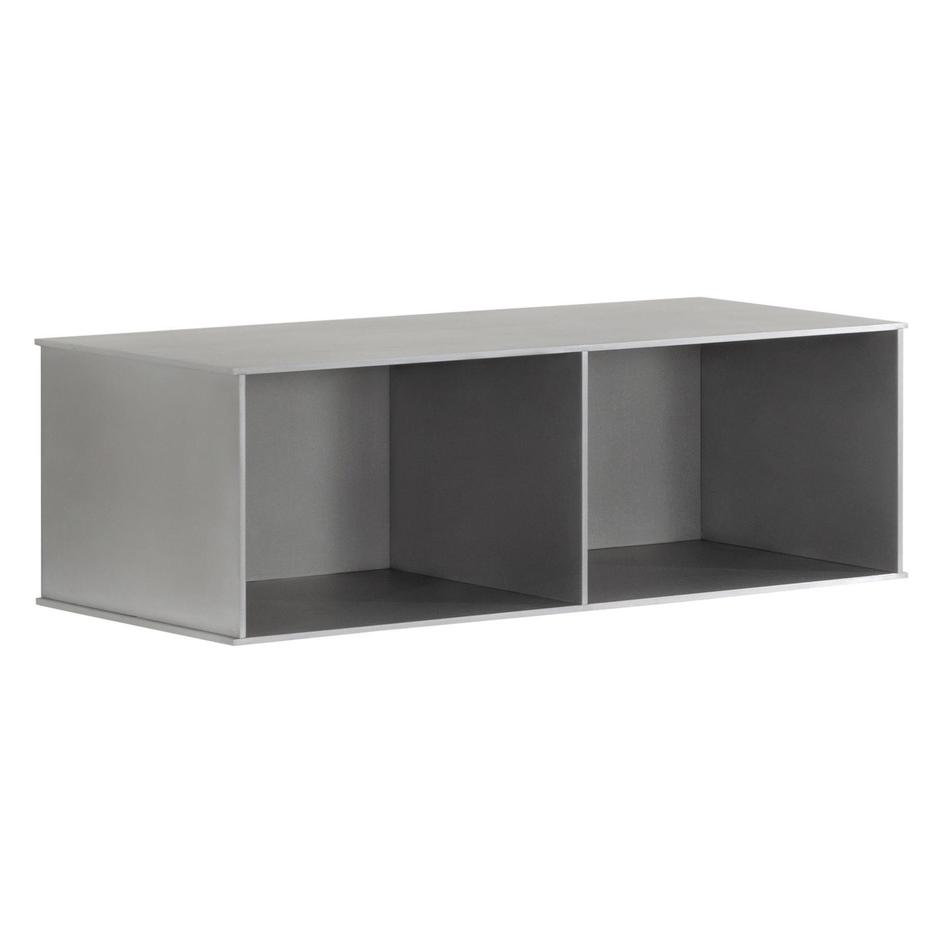 Deep 2G Wall-Mounted Shelf Console in Waxed Aluminum Plate by Jonathan Nesci