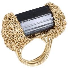 Deep Black Raw Tourmaline in 14 Karat Gold Statement Ring by Sheila Westera
