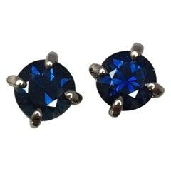 Deep Blue 1.22 Carat Australian Sapphire 18 Karat Gold Round Cut Earring Studs