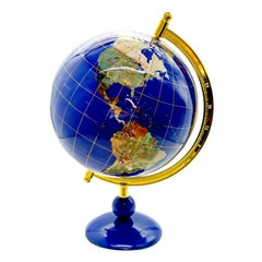 Deep Blue and Gold Rotating Globe late 20th Century Gemstone/Semiprecious Stones