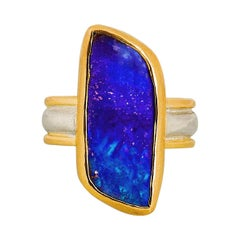 Deep Blue Boulder Opal Cocktail Ring in 22 and 18 Karat Yellow Gold with Silver
