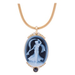 Deep Blue Cameo Pendant with Diamonds