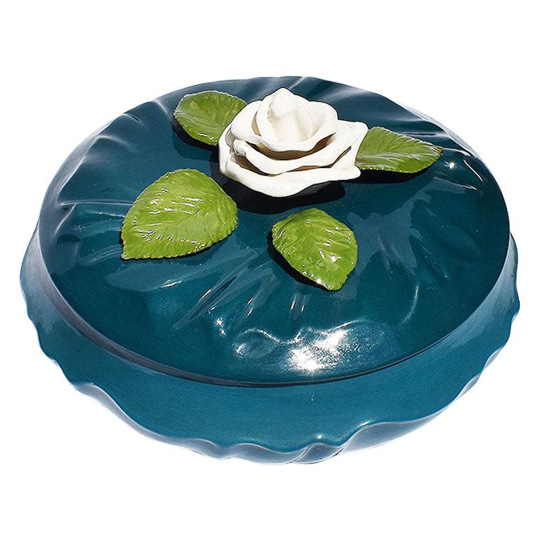 Deep Blue Ceramic Dish with Lid and White Magnolia Flower Topper