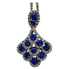 Deep Blue Sapphire and Diamond 18 Karat White Gold Peacock Pendant Necklace