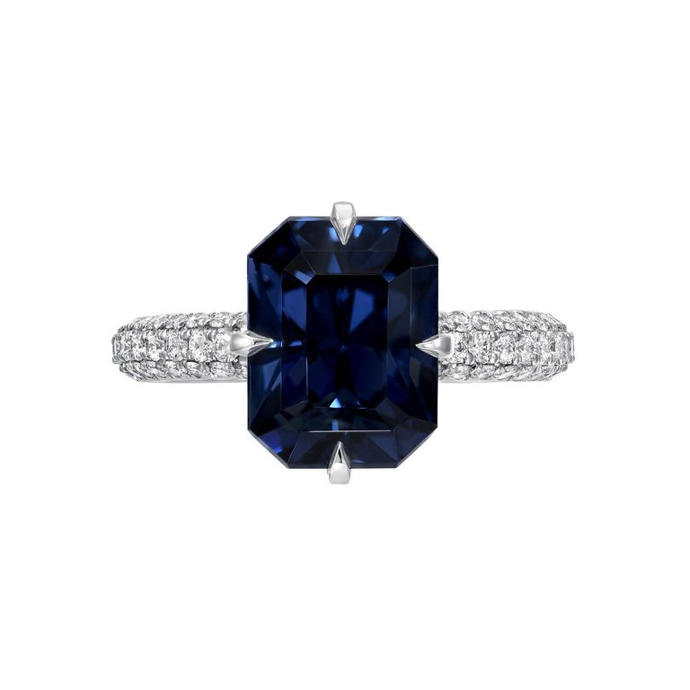Women's Blue Spinel Ring 4.01 Carat Emerald Cut For Sale