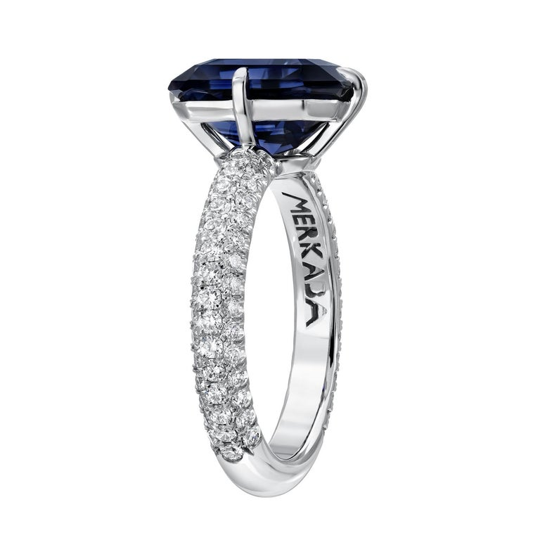 Rare and exquisite 4.01 carat deep blue Spinel emerald cut, nestled in a remarkable three row micro-set diamond ring in platinum. Ring size 6. Resizing is complementary upon request. Crafted by extremely skilled hands in the USA. Returns are