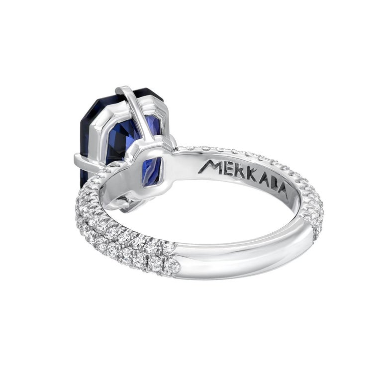 Modern Blue Spinel Ring 4.01 Carat Emerald Cut For Sale