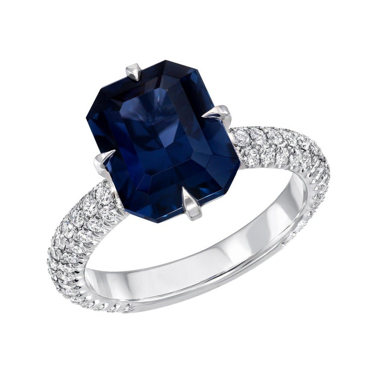 Blue Spinel Engagement Ring Emerald Cut Diamond Platinum Cocktail Ring For Sale