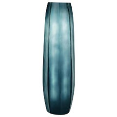 Deep Blue Tall Thin Glass Vase, Romania, Contemporary