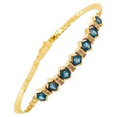 Deep Blue Tourmaline and White Diamond Bracelet in 14 Karat Yellow Gold