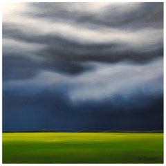 """Deep Blue Transition"" Blue, Green Oil on Canvas by Storm Chaser Ian Sheldon"