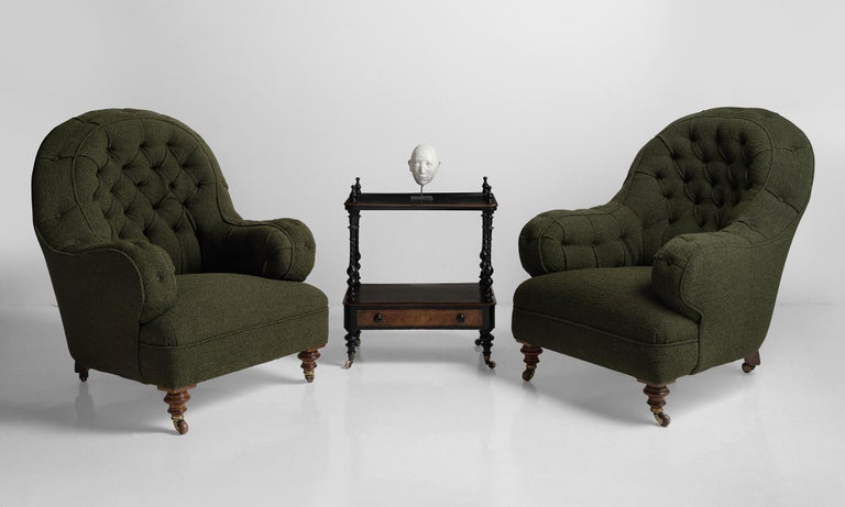 Deep Buttoned Armchairs, England, circa 1860 For Sale 4