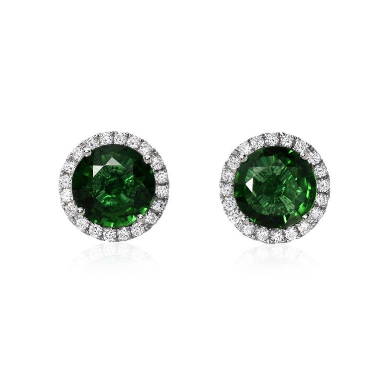Modern Green Tourmaline Diamond Stud Earrings 1.96 Carats Total For Sale