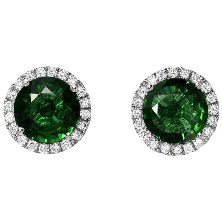 Green Tourmaline Diamond Stud Earrings 1.96 Carats Total For Sale
