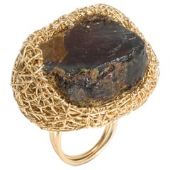 Deep 'Cognac' Colored Raw Baltic Amber Cocktail Ring by Sheila Westera London