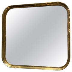 Deep Framed Brass Mirror, 1960s, Italy