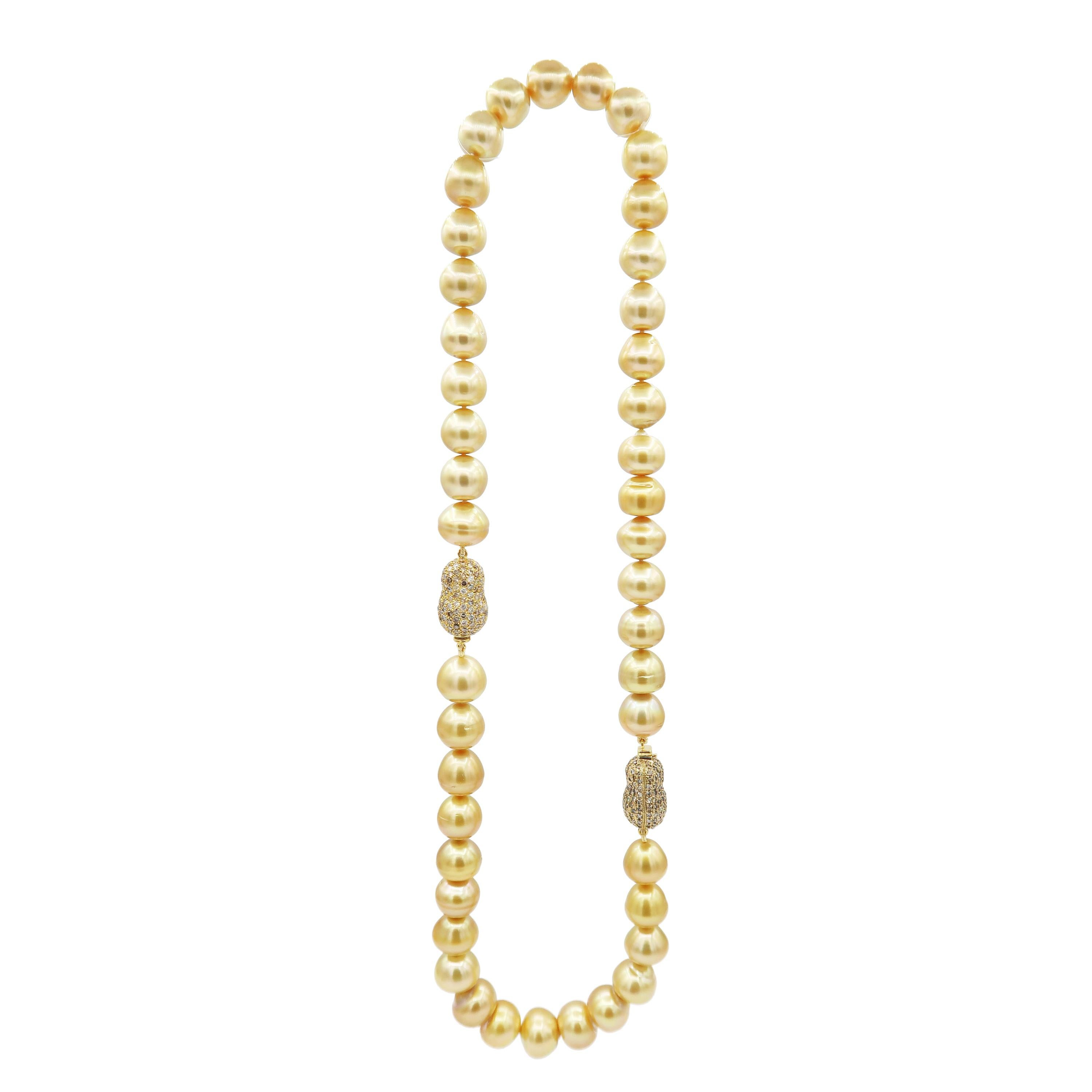 Deep Gold South Sea Pearl Necklace and Champagne Diamond Peanut Gold Clasp