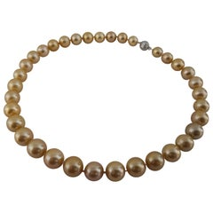 Deep Golden Color South Sea Pearl Necklace, Round, 18 Karat Gold