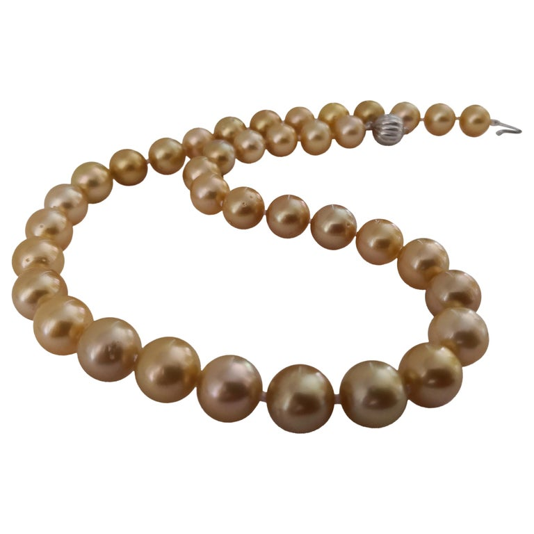 Deep Golden Natural Color South Sea Pearls, Round, 18 Karat Gold For Sale