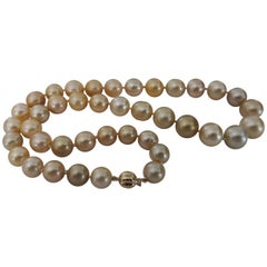 Deep Golden South Sea Pearls Natural Color and Luster, 18 Karat Gold