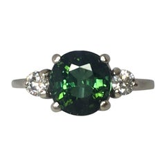 Deep Green 2.16 Carat Tourmaline and Diamond Trilogy Three-Stone White Gold Ring