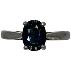 Deep Green Blue 1.75 Carat Sapphire Oval Cut 18 Karat White Gold Solitaire Ring